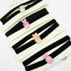 Kid's 2 Pack  Choker Set Black Velvet w/ Beaded Bunny Charm .33 per set