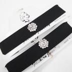 Wide Black Fashion Choker w/ Crystal Stone Flower  .54 ea