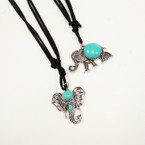 "18"" Black DBl Suede Cord Necklace w/ 2 Style Elephant Pendants  .54 ea"
