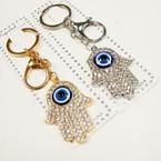Gold & Silver Crystal Stone Hamsa Keychain/Purse Charm w/ Eye Bead .54 ea