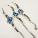 Cast Silver Fashion Bracelets w/ 3 Style Eye of Protection Bead .56 ea