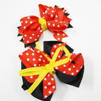"Popular 5"" Blk.Yellow.Red Poka Dot Gator Clip Bows .54 ea"