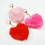 "3"" 3 Color Faux Fur Heart Shaped Pom Pom Keychains  .54 ea"