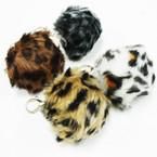 """3"""" Round Faux Fur Pom Pom Keychains  Animal Prints .58 ea"""