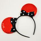 Sequin Mouse Ear Headbands w/ Poka Dot Bow 4 colors  .54 ea