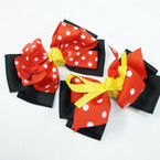 "5"" Layered Gator Clip Bow Red Poka Dot & Yellow Ribbon  .54 ea"