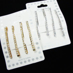 "4 Pk Gold & Silver 2"" Bobbie Pins w/ Crystal Stones .50 per pk of 4"