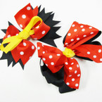 "Popular 5"" Layered Gator Clip Bow Red Poka Dot & Yellow Ribbon  .54 ea"