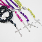 "36"" MBL Glass Beaded Rosary w/ Silver Cross w/ JESUS .56 ea"