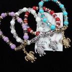 Glass Marble & Crystal Bead Bracelet w/Gold/Silver Turtle Charm .54 ea