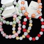 Pearl & Crystal Fireball Bead Stretch Fashion Bracelets .54 ea