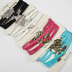 Asst Color Multi Cord  Bracelets w/ 4 Mixed Charms as shown  .58 ea