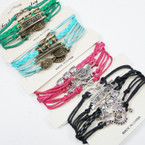 Multi Cord  Bracelets w/ 4 Style Mixed Charms as shown   .58 ea