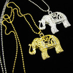 "24"" Gold & Silver Ball Chain Necklace w/ 2"" Crystal Stone Elephant .54 ea"