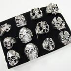 Chunky Cast Silver Skull Rings asst styles  .54 ea