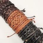3 Strand w/ Braid Cord Teen Leather Bracelets  .54 ea