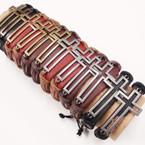 Teen Leather Bracelets w/ Gold & Silver Open Cross .54 ea