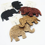 "2.75"" Browntone & Black  Elephant  Wood Earring .52 ea"