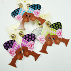 "2.5"" Fashion Lady  Wood Earring  Lg. Flower Turbin CLIP ON    .50 ea"
