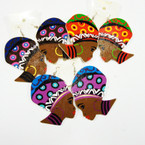 "2.75"" Fashion Lady  Wood Earring  w/ Colored Hoop Earrings    .54 ea"