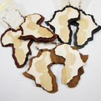 "2.5"" 2 Layer Africa Map Wood Earrings w/ Girl .54 ea"