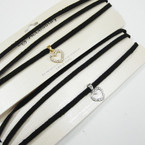 Black 3 Strand Fashion Suede Cord Choker w/ Cry. Stone Heart .54 ea