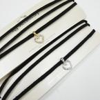 Black 3 Strand Fashion Suede Cord Choker w/ Cry. Stone Heart .54 ea