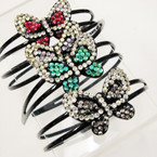 Black 2 Line Plastic Headbands w/ Two Tone Acrylic Stone Butterfly @ .25 ea