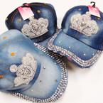 Best Quality Stone Denium Baseball Caps w/ Pearl/Cry. Stone Crown 3 per pk $ 4.00 ea