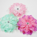 "3 Color 5"" Silk Flower w/ Clear Stone Gator Clip/Broach Pin .52 ea"
