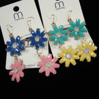Colorful Flower Fashion Earrings Asst Colors .52 ea pair