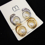 Classic Gold & Silver Cast Earring w/ Pearl .52 per pair