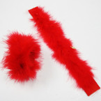 "9"" All Red Faux Fur Slap Bracelets 24 per pk .39 each"
