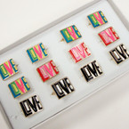 Colorful LOVE Theme Fashion Rings 12 per bx .50 ea