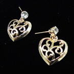 Elegant Gold Heart Earrings w/ Crystal Stone .45 ea pair
