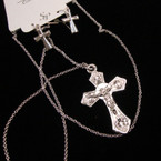 "20"" Silver Lightweight DBL Sided Crucifix Pendant & Earrings Set  .45 each set"
