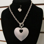 "16"" Silver Chain Necklace Set w/ 2"" Lightweight Textured Heart Pendant .50 per set"