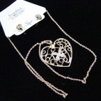 "18"" Gold Chain Neck Set w/ Open Heart Pendant .45 ea set"