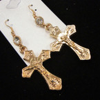 "2"" Gold Lightweight Crucifix Earrings w/ Stone DBL Sided .45 ea pair"