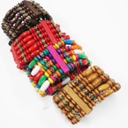 "5 Line 1.5"" Wood Bead Stretch Bracelets as shown .56 ea"