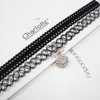 2 Pk All Black Choker Necklace Set w/ Crystal Stone Drop  .56 per set
