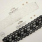"1.5"" Wide Black & White  Lace Choker Necklace Set w/ Earrings  .54 ea  set"