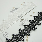 "1.5"" Wide Black & White  Fancy Lace Choker Necklace Set w/ Earrings  .54 ea  set"