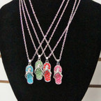 "18"" Silver Chain Necklace Set w/ Crystal Stone Flip Flop Pend. .58 ea"