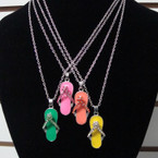 Silver Chain Necklace Set w/ Crystal Stone Flip Flop Pend Neons . .58 ea