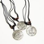DBL Leather Cord Necklace w/ Mixed Silver Zodiac Signs Round Pend.  .54 ea