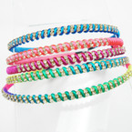 Best Seller Colorful Cord Wrapped Headband w/ Crystal Stones .54 ea