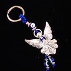 "2"" Metal Silver Angel Keychain w/ Eye Beads .56 ea"