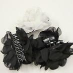 """4"""" Blk & White Color Soft Fabric Jaw Clip DBL Bows  .54 ea"""