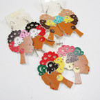 "2.5"" Wood Fashion Lady Earrings w/ Perm Hair .54 ea"